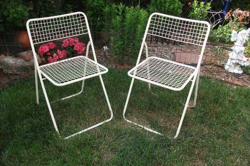 Vintage Pair Mid Century Modern Metal Mesh Folding Lawn