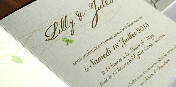 """Faire part de mariage """"Lotus et Libellules"""" détail du texte"""