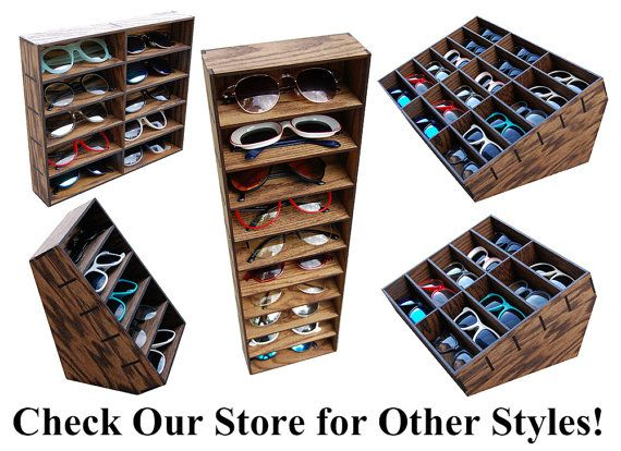 Wooden his /& hers glasses stand sunglasses case holder display stand