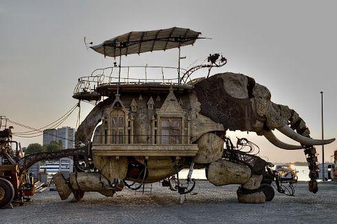 45-Ton Mechanical Elephant, Burning Man. http://1800recycling.com/2011/05/mechanical-elephant-streets-recycle-london/