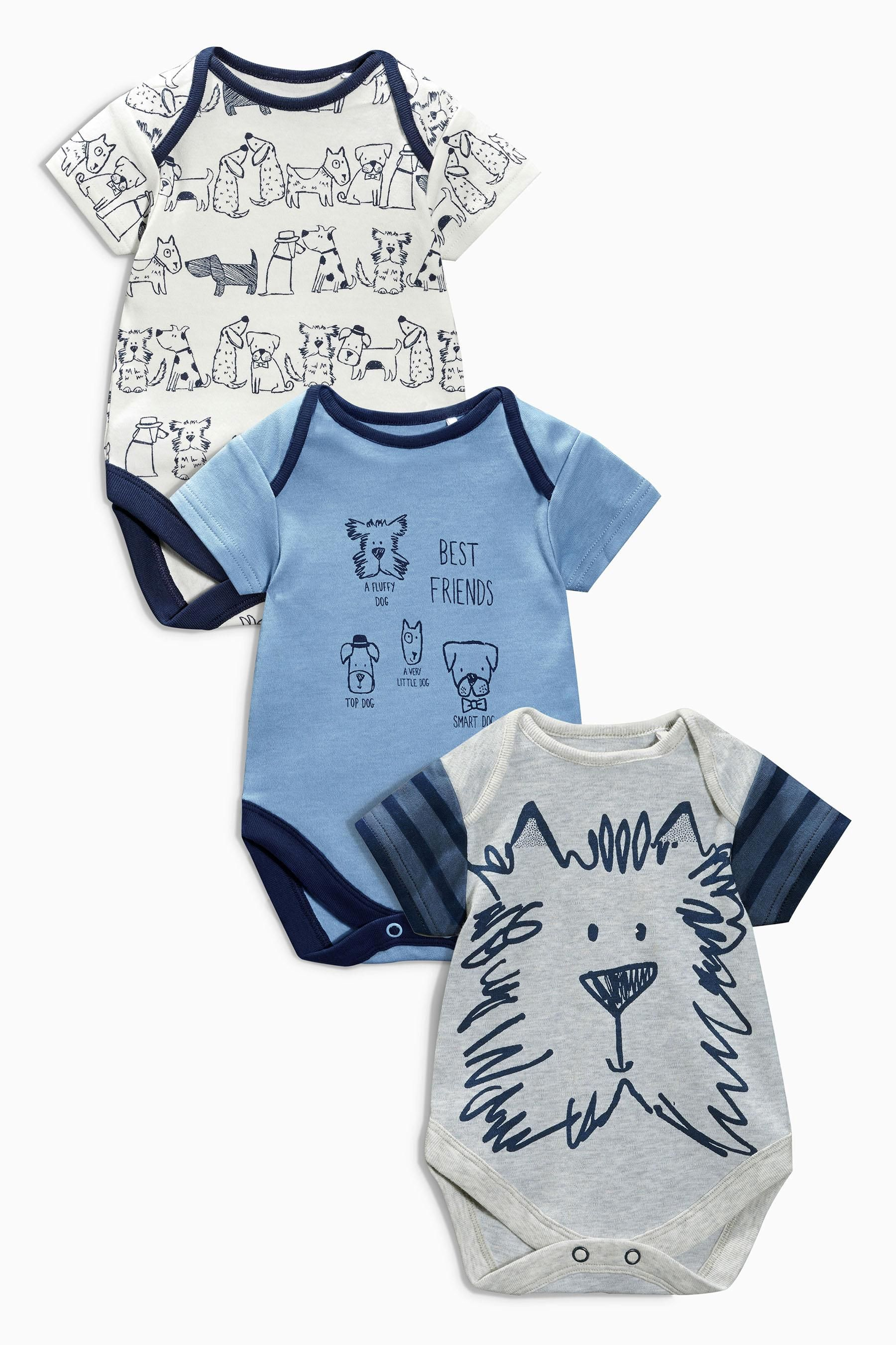 81ff5e87a56 Buy Three Pack Blue Dog Bodysuits (0mths-2yrs) from the Next UK ...