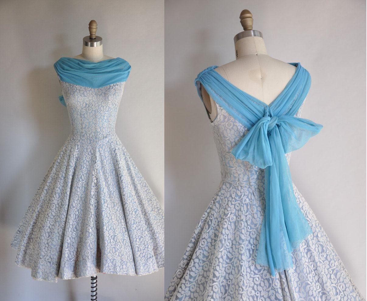 R e s e r v e ds vintage party prom dress s blue lace