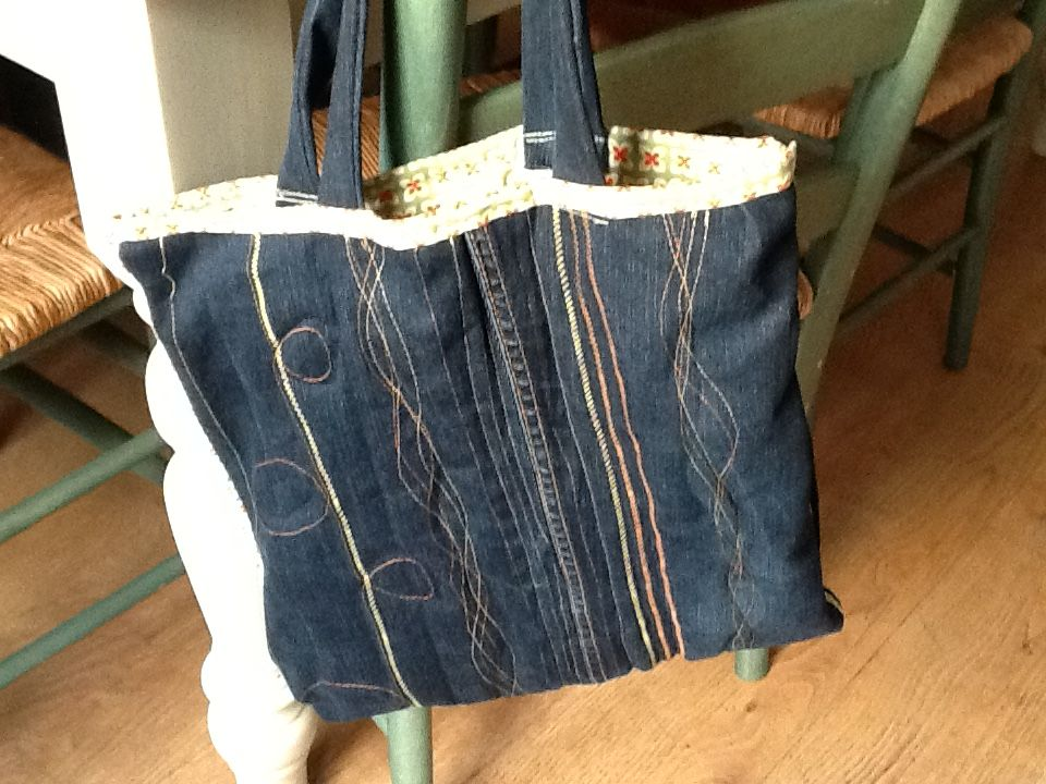 Quite pleased with book bag made out of old jeans