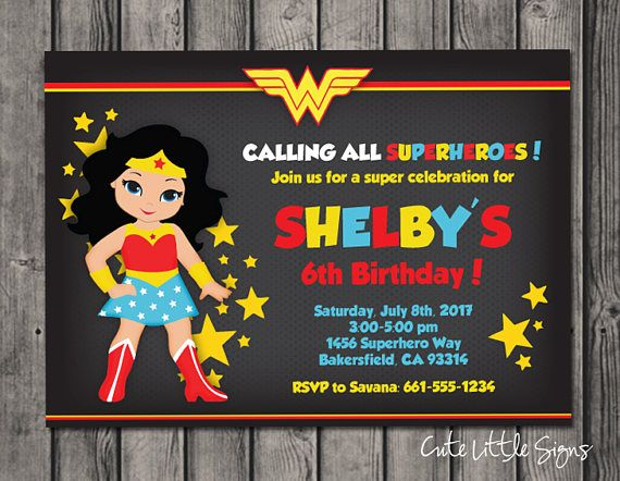 wonder woman superhero girls birthday invitation digital download