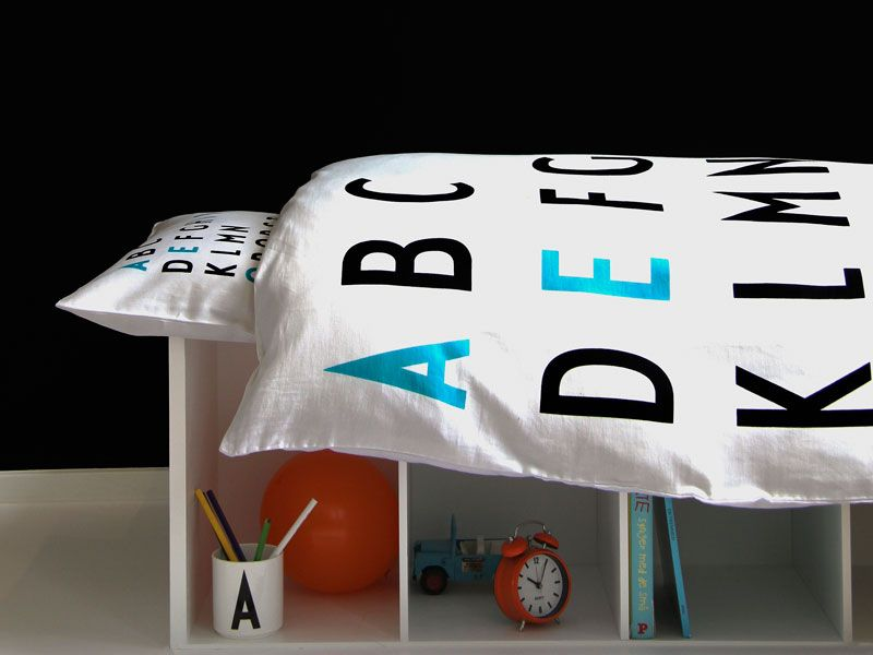 organic typography bedding featuring Arne Jacobsen's stylish stroke #bedding #children #arnejacobsen #DanishDesign