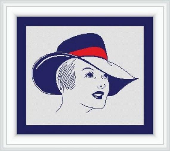 point de croix femme au chapeau - cross stitch woman with a hat 3