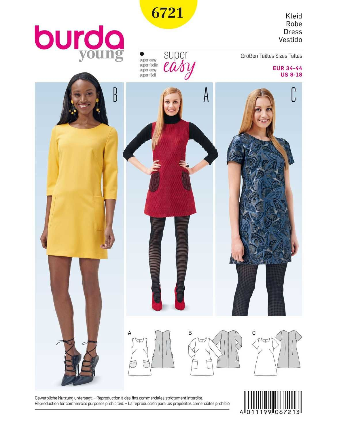Kleid, Trägerkleid ausgestellt und aufgesetzte Taschen F/S 2015 ...