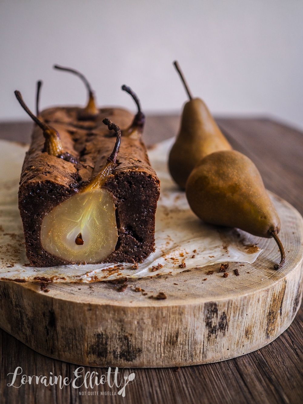 Whole Spiced Pear & Chocolate Loaf Cake {Gluten Free