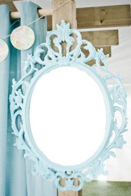 Aqua Blue Turquoise Tiffany Blue Vintage Style Mirror Oval