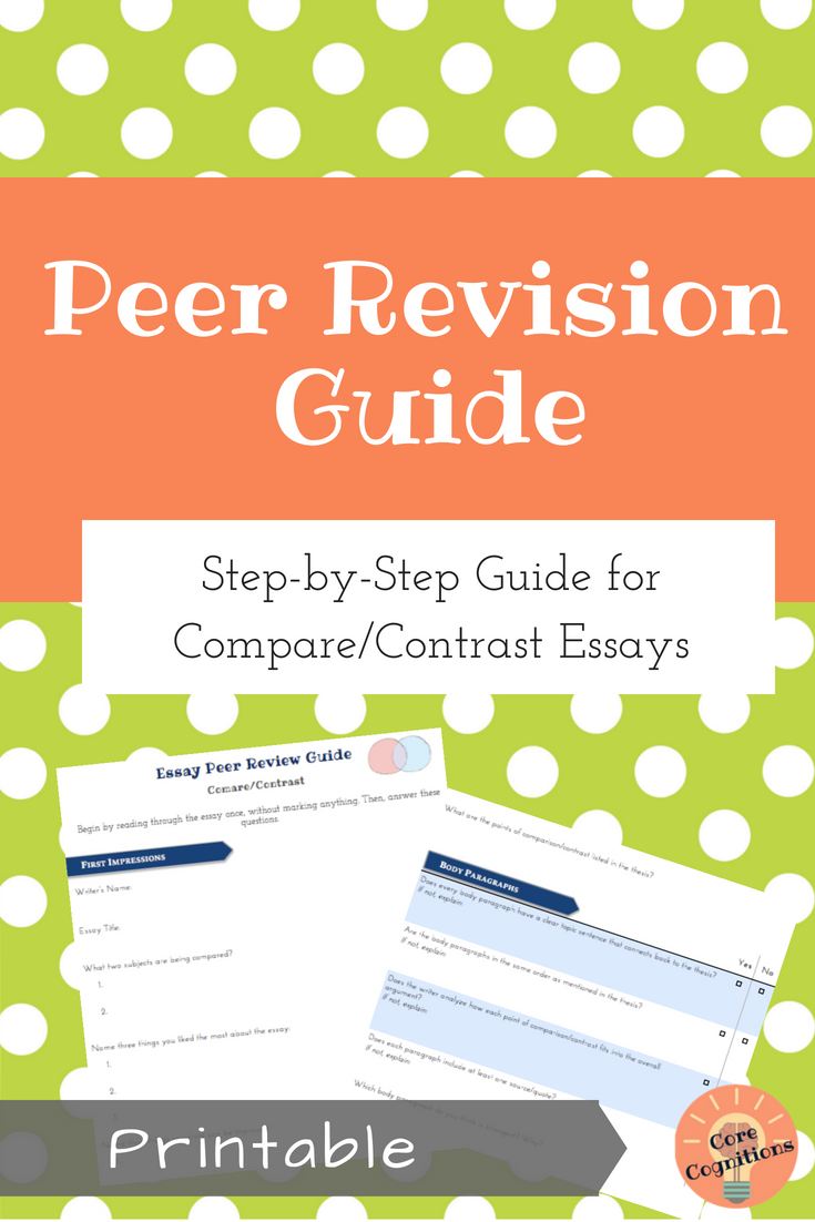 Peer Revision Guide For Compare And Contrast Essays Peer Review