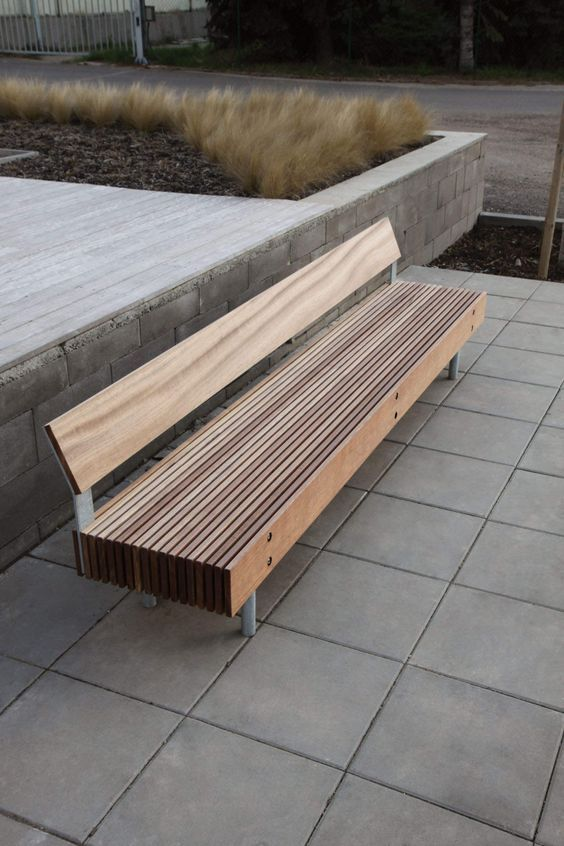 Timber bench wood pinterest bench street furniture for Landscape timber bench