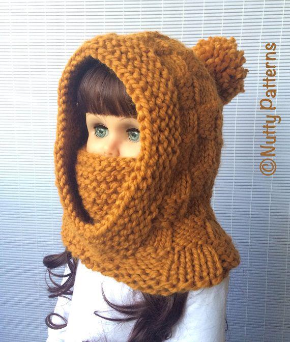 Knitting Pattern * Dakota Hooded cowl * Instant Download Pattern ...