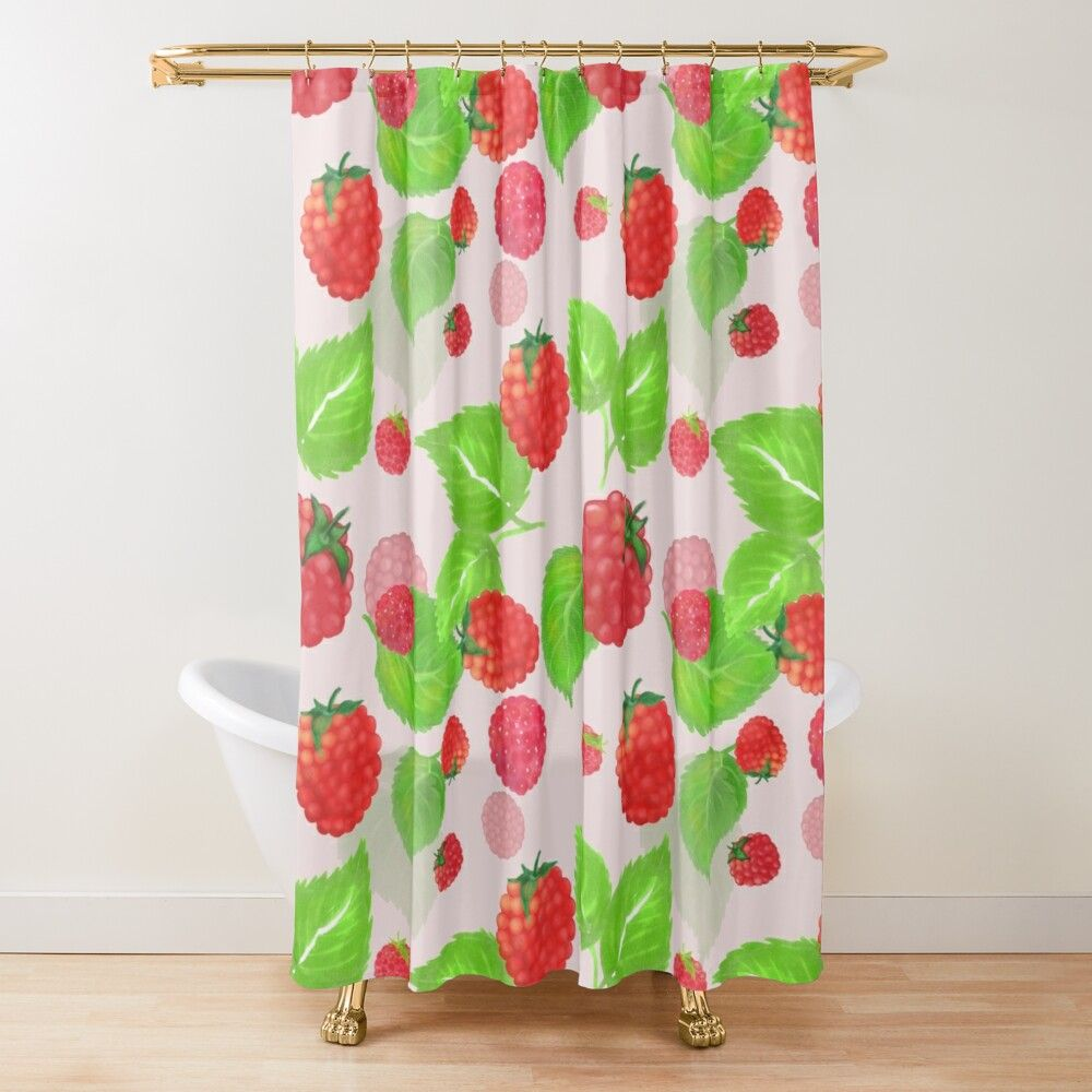 Shower curtains featuring raspberry pattern. 12 button holes (shower hooks and liner not included), made from 100% Polyester. Vivid, full color print on front, white on back. Machine wash cold. #raspberry #raspberries #fruits #redfruits #pink #berries #food #shower #showercurtains #showerdecor #bathroom #bathroomdecoration #bathroomdecor #curtains #pattern #cool #trendy #curtaindesign #showerdesign #coolshower #decor #showerideas #showers #bathroomdesign #bathroomideas