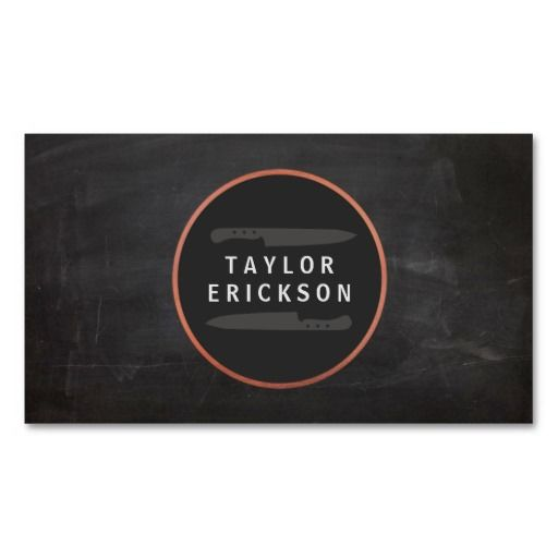 Cool chef rustic copper knife logo chalkboard business card food cool chef rustic copper knife logo chalkboard business card reheart Image collections