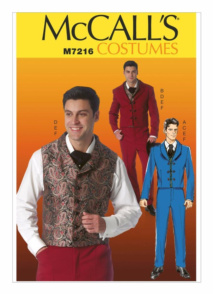 M7216 McCall\'s Sewing Pattern Costume Men Historical Vest Jacket ...