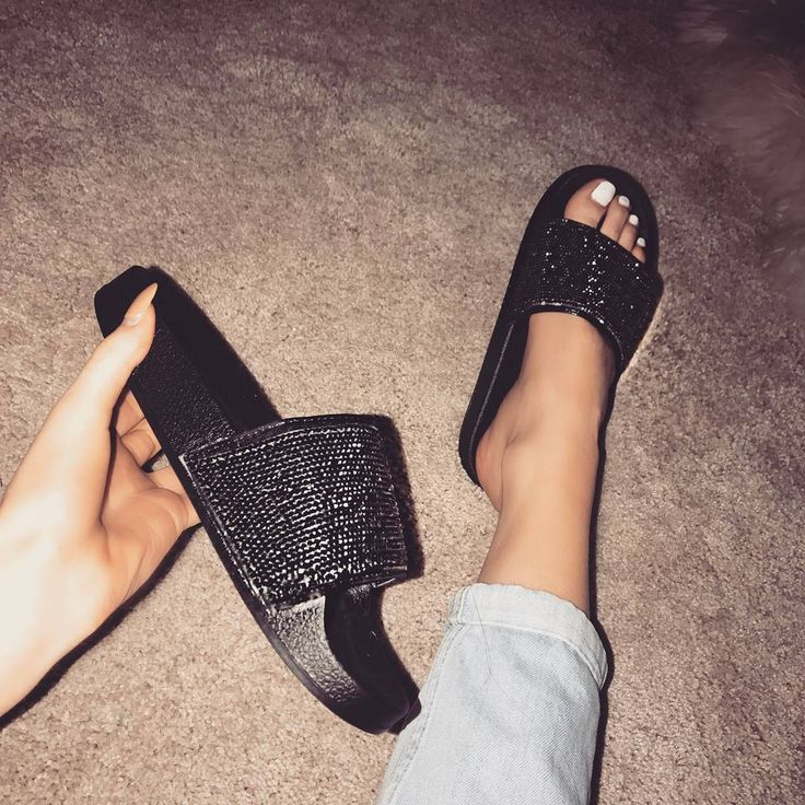 Black Shoes Rhinestone Simmi Sandal SlidesAll QtrshdC