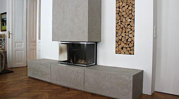 moderne kamingestaltung von edel und stein betonoptik zur wandgestaltung pinterest. Black Bedroom Furniture Sets. Home Design Ideas