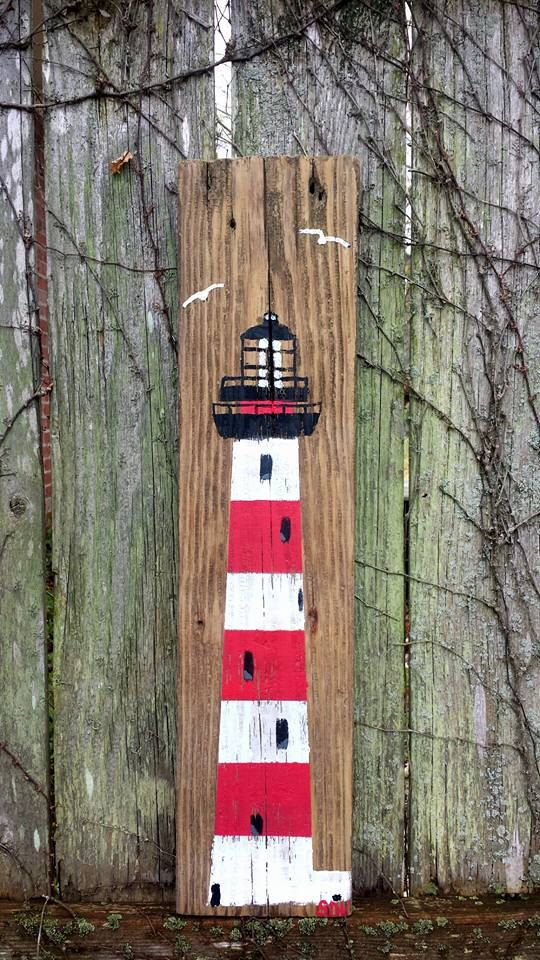 Reclaimed Barn Wood Hand Painted Lighthouse Art By