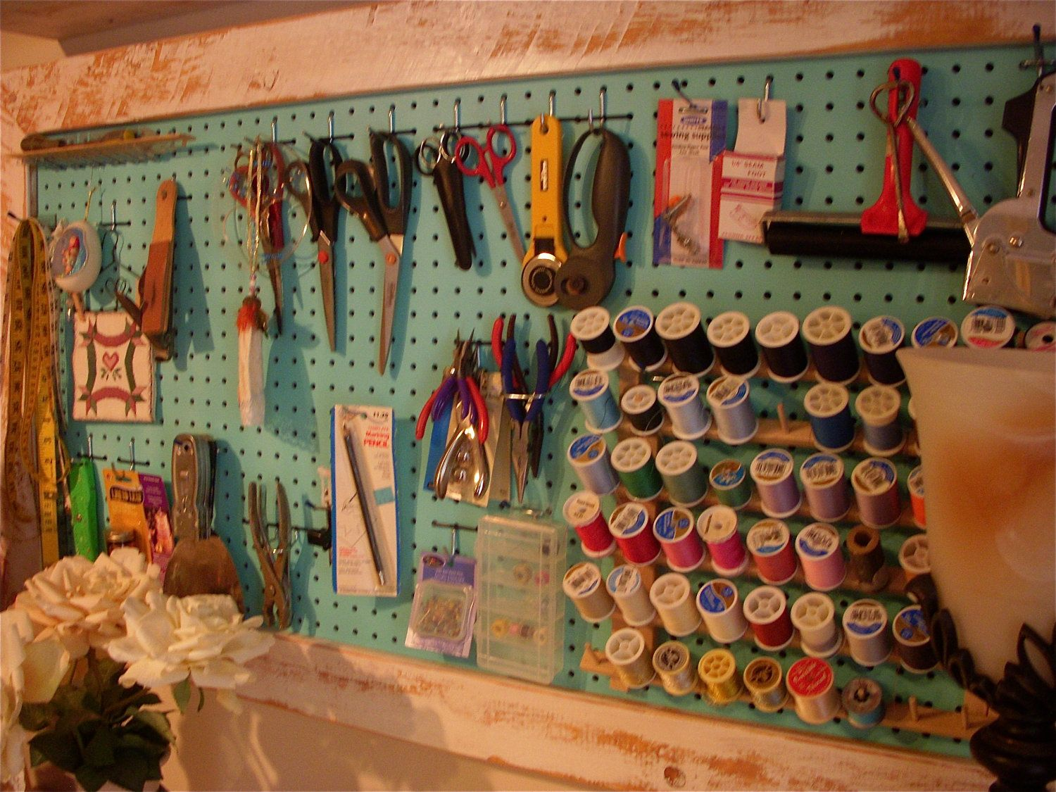 Wood Framed Pegboard   Craft   Art Supply Storage   Sewing Room Organizing.  $250.00,