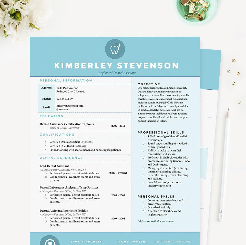 Blue Dental Resume  Feminine  Professional Microsoft Word Resume