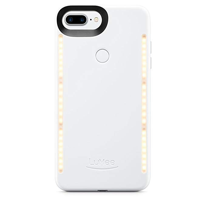 timeless design 862df 73360 Amazon.com: LuMee Duo Phone Case, White Glossy | Front & Back LED ...