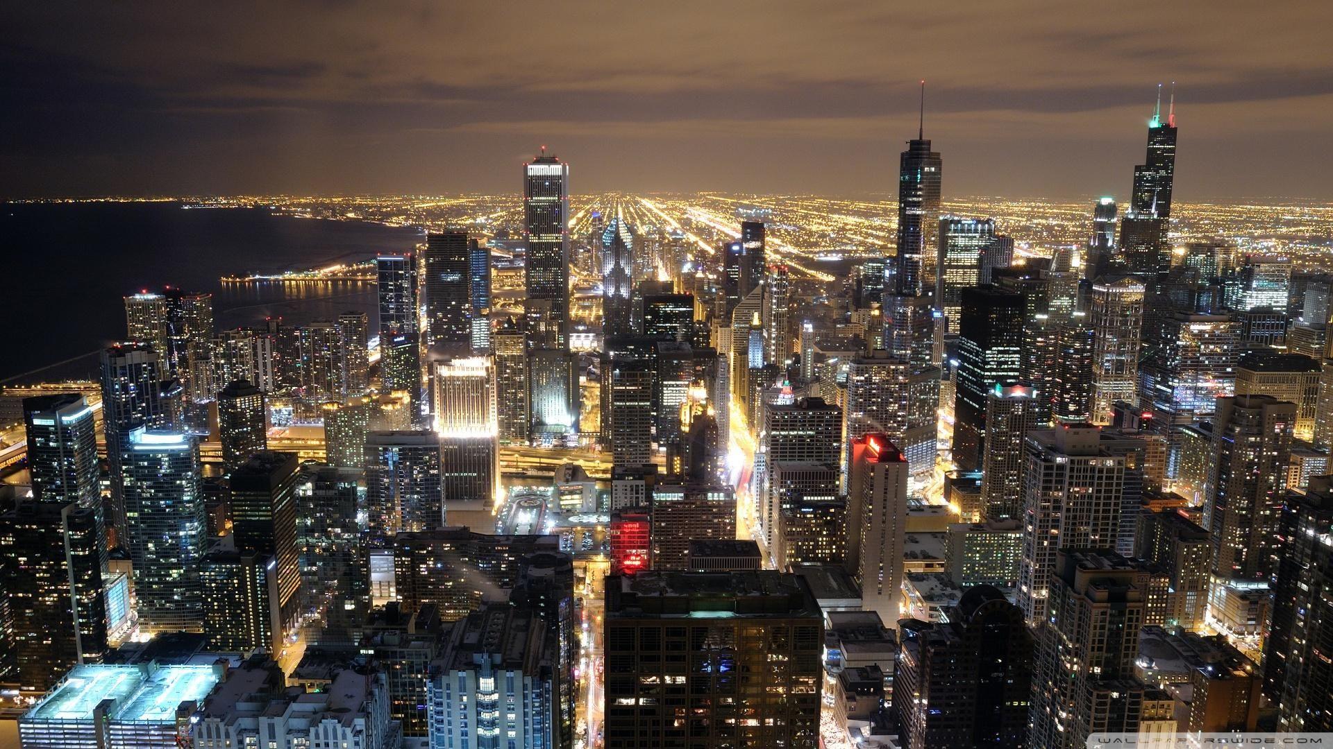 Chicago Skyline at Night HD HD Beautiful Chicago Skyline