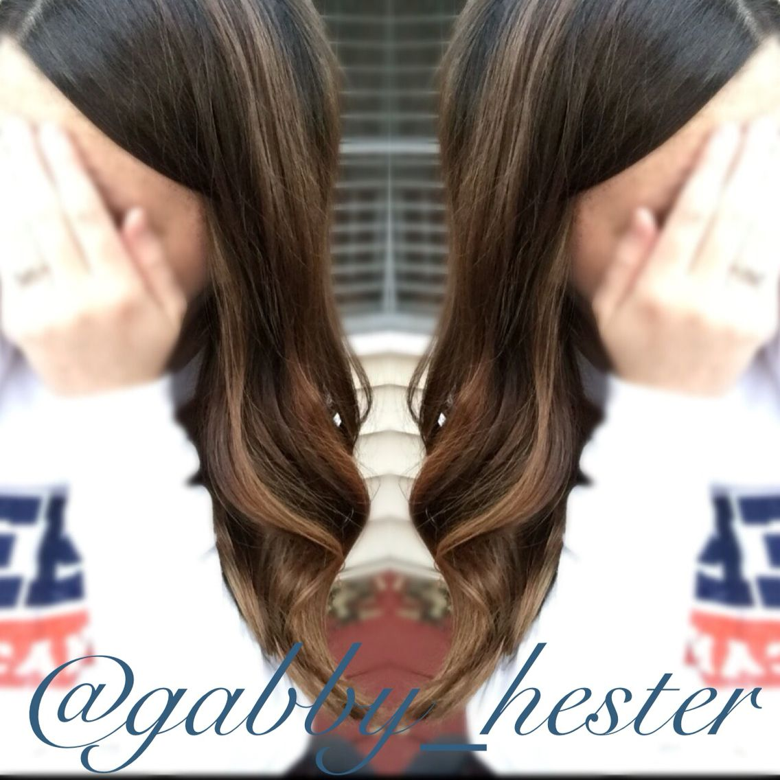 Caramel balayage on medium brown hair work by gabby hester hair