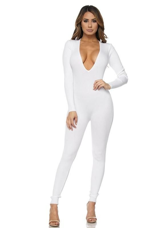 1267a6b004b1 Off White Deep V Long Sleeve Catsuit