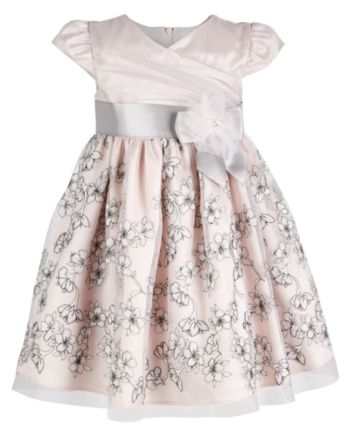 b6247298aa053 Bonnie Baby Baby Girls Floral-Embroidered Mesh Dress - Pink 6-9 months