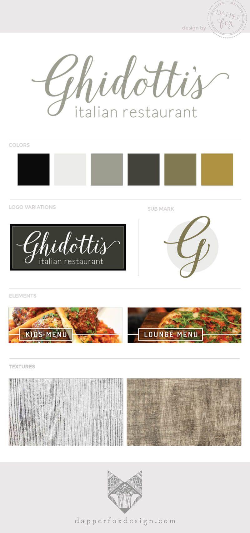 GhidottiS Italian Restaurant  Dapper Fox Design  Custom Menu