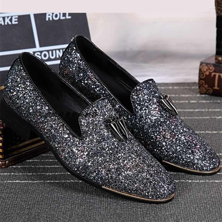 2017 Fashion New Bling Paillette Leder Männer Kleid Schuhe Slip On ...