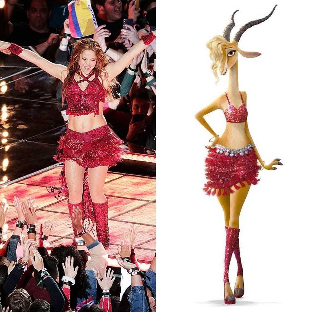 Shakira S Outfit For The Super Bowl Of 2020 Was Inspired From Her Character In Zootopia Gazelle In 2020 Shakira Zootopia Shakira Outfits
