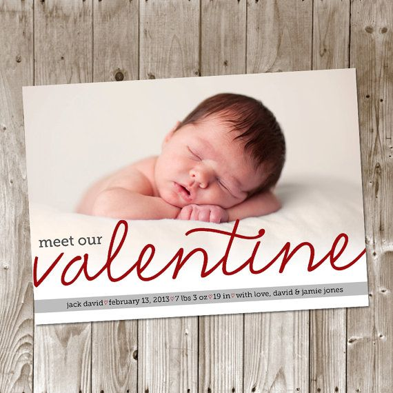 valentine birth announcement by poppydesignsshop on etsy