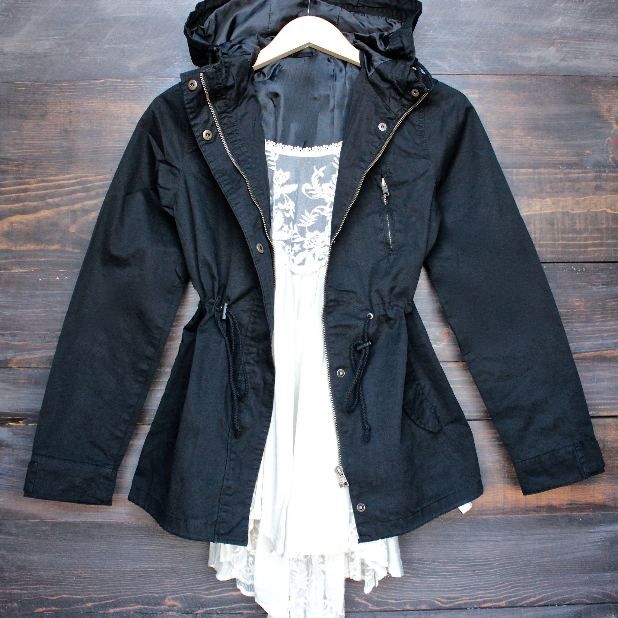 Womens hooded utility parka jacket with drawstring waist in black ...