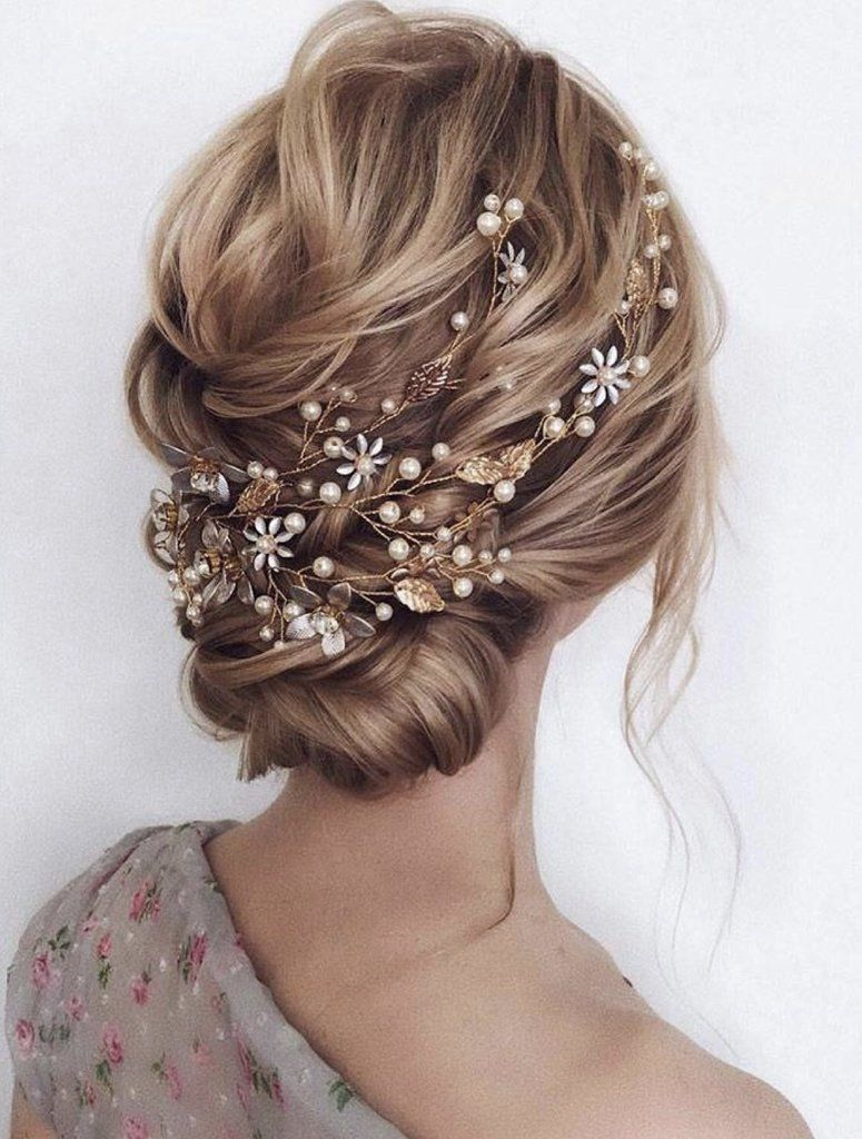gold boho bridal hair vine for wedding, leaf hair vine.