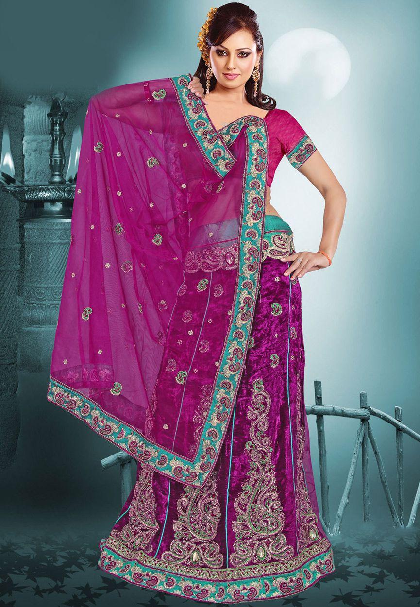 Magenta Net and Velvet Lehenga Style Saree with Blouse