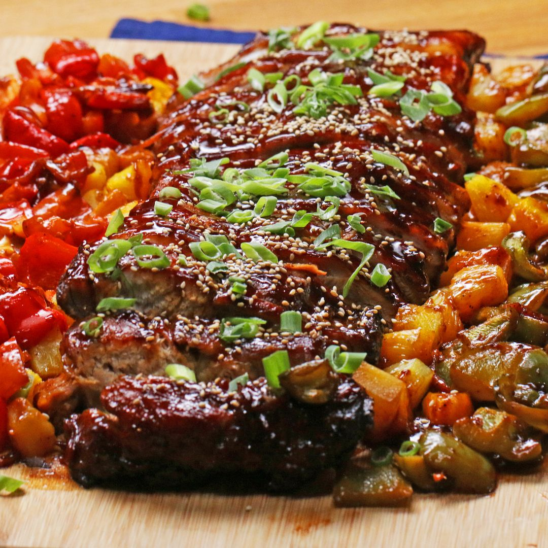 Photo of BBQ ribs sweet and sour with pineapple and vegetables