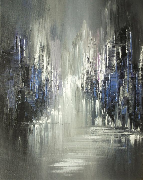 City painting palette knife original cityscape twilight for Palette knife painting acrylic