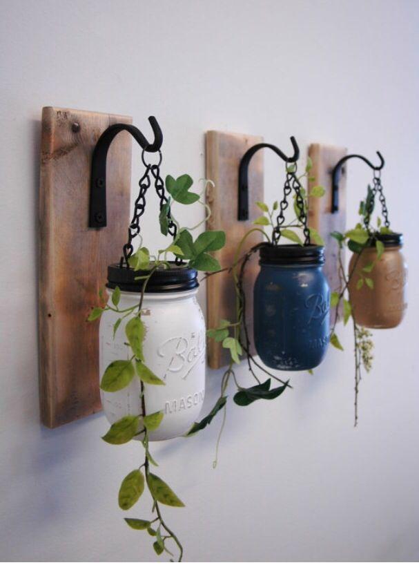 Individual Hanging Painted Mason Jar Wall Decor