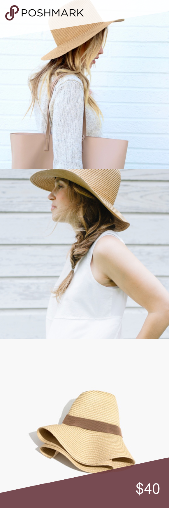 6b5ce175479 Madewell NWT Packable Straw Hat Mesa Tan A stitched straw floppy hat that  rolls up like