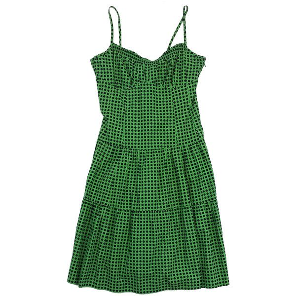 Pre-owned Nanette Lepore Green & Navy Polka Dot Sun Dress (3,665 PHP) ❤ liked on Polyvore featuring dresses, green sun dress, navy blue sundress, green day dress, navy blue sun dress and green dress