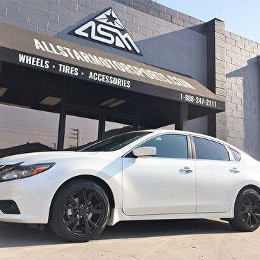 White Nissan Altima Powdercoated Black Wheels