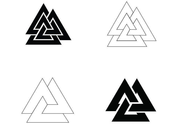 Valknut Tattoo Designs Symbol Vector 4 Simple Valknut Tattoos