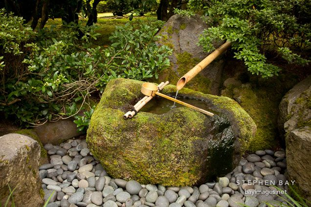 Photo stone basin bamboo water fountain portland for Japanese bamboo water feature