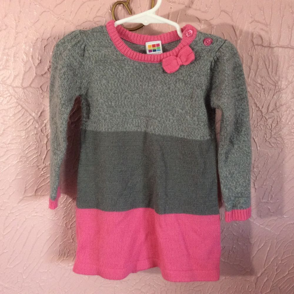 c81b2f760f36 Healthtex Sweater Dress Toddler Girls Size 24m Gray Pink Long Sleeve ...