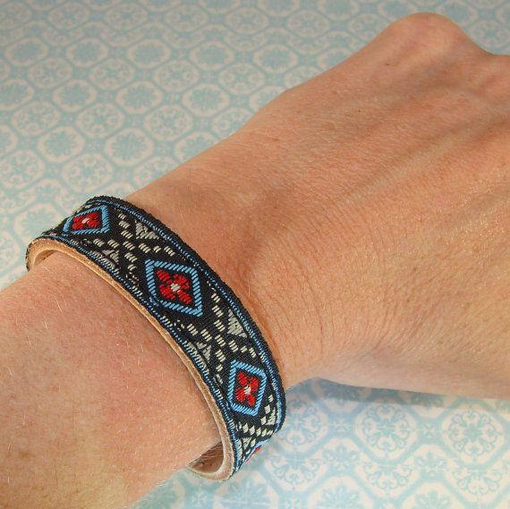 6 Leather Bracelets Black & Blue Ribbon Cuffs to Stud by beadgiant