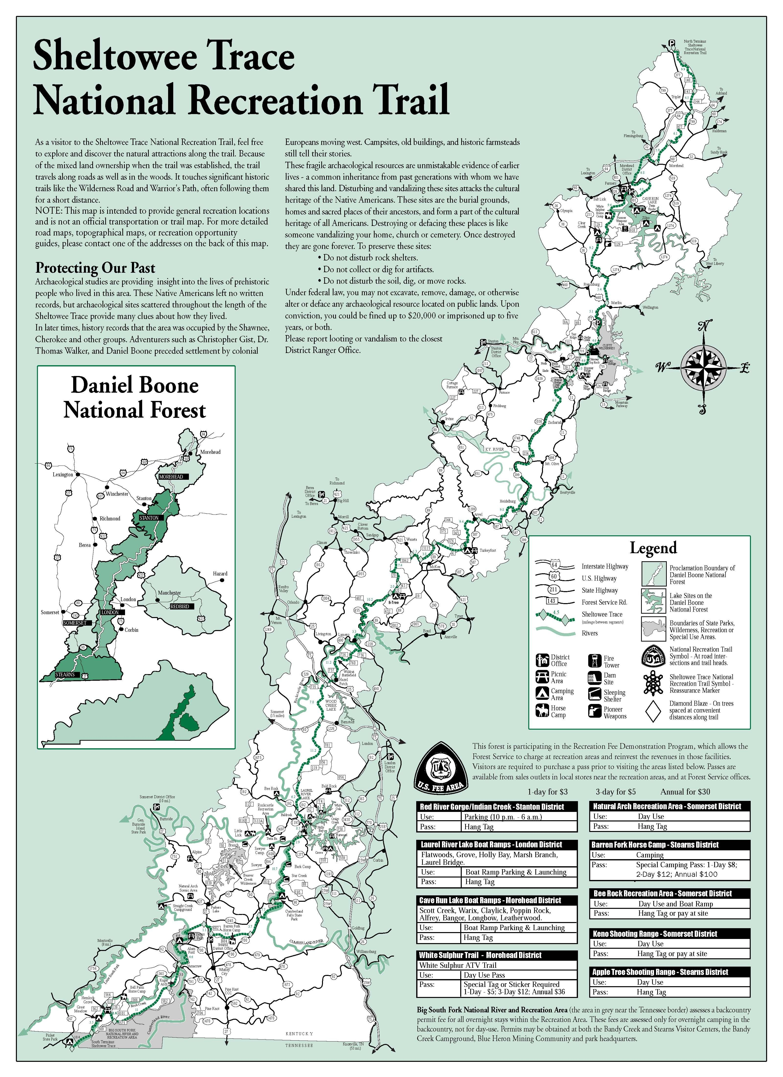 Sheltowee Trace Trail Map Through Daniel Boone National