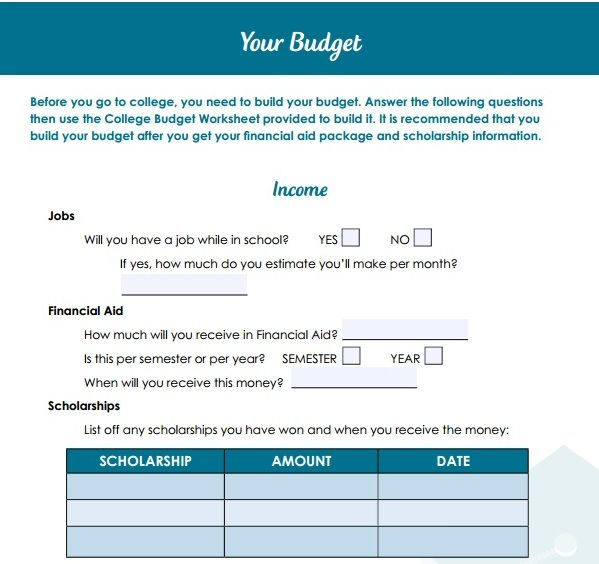 before you go to college you need to build your budget answer the
