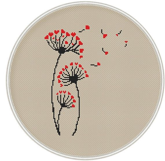 Dandelion cross stitch pattern, Counted cross stitch pattern, Instant Download, Free shipping, Cross-Stitch PDF, Love cross stitch, MCS085 #craftstomakeandsell