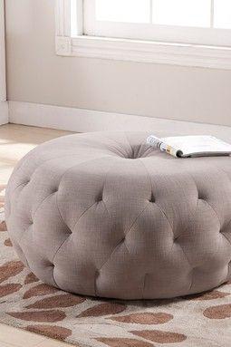 HauteLook | Fabulous Tufted Furniture: Glazebrook Round Beige Tufted Ottoman